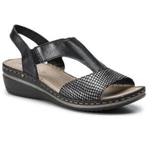 Sandály GO SOFT WI21-3020-02 Přírodní kůže - nubuk,Pravá kůže - lesklá kůže,Přírodní kůže - lícová