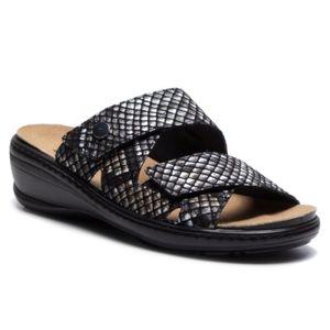 Pantofle GO SOFT RST-4854-01 Pravá kůže - lesklá kůže,Přírodní kůže - semiš